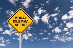 Segno morale di dilemma avanti immagine stock libera da diritti