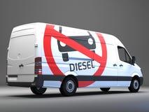 Segno movente diesel di divieto sul trasportatore con testo tedesco Fotografie Stock Libere da Diritti