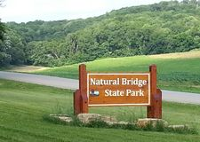Segno naturale del parco di stato del ponte fotografia stock libera da diritti