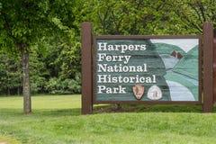 Segno nazionale del parco storico del traghetto dei Harpers Fotografia Stock