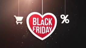 Segno nero del cuore di venerdì che appende sulla corda con il carrello e l'icona delle percentuali royalty illustrazione gratis