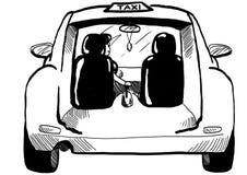 Segno nero del taxi con l'automobile su fondo bianco Immagine Stock