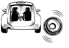 Segno nero del taxi con l'automobile su fondo bianco Immagini Stock