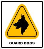 Segno nero giallo del testo di Dogs On Duty della guardia di avvertimento del triangolo, Fotografie Stock Libere da Diritti