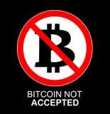 Segno non accettato del bitcoin di vettore Icona non permessa cripto dei monets con il cerchio rosso Insegna, autoadesivo per la  Fotografia Stock