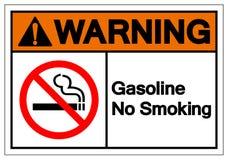 Segno non fumatori d'avvertimento di simbolo della benzina, illustrazione di vettore, isolato sull'etichetta bianca del fondo EPS fotografia stock libera da diritti