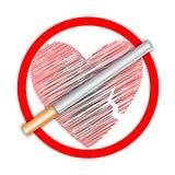 Segno non fumatori del cuore Fotografie Stock Libere da Diritti