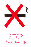 Segno non fumatori rosso, risparmi del tabacco di arresto la vostra vita Fotografia Stock Libera da Diritti