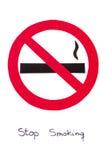 Segno non fumatori rotondo rosso, risparmi del tabacco di arresto la vostra vita Fotografia Stock