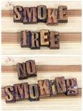 Segno non fumatori senza fumo dello scritto tipografico Fotografia Stock