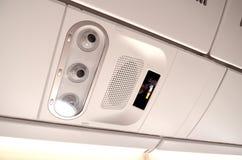Segno non fumatori, sull'aeroplano Immagini Stock
