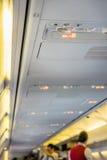 Segno non fumatori sull'aeroplano fotografia stock
