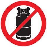 Segno non permesso del cilindro del propano Fotografia Stock Libera da Diritti