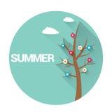 Segno o etichetta piano di estate sottragga la priorità bassa Fotografia Stock Libera da Diritti