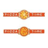 Segno o logo di tempo della pizza Fotografia Stock Libera da Diritti
