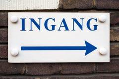Segno olandese Ingang dell'entrata Fotografia Stock Libera da Diritti