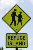 Segno pedonale del rifugio, Fotografia Stock