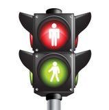 Segno pedonale del semaforo di due colori Fotografia Stock