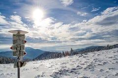 Segno per i turisti in Carpathians Immagine Stock