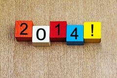 2014 - segno per il nuovo anno Fotografia Stock Libera da Diritti