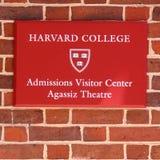 Segno per l'ufficio di ammissioni all'università di Harvard Fotografia Stock