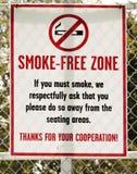 Segno per la zona senza fumo Fotografia Stock Libera da Diritti