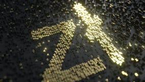 Segno polacco di zloty fatto dei numeri dell'oro Animazione concettuale 3D video d archivio