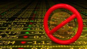 Segno proibitivo con un bitcoin dentro su un pavimento dello stockwall illustrazione vettoriale