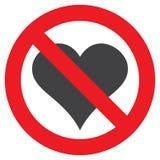 Segno proibitivo: l'amore è vietato, cuore, vettore illustrazione vettoriale