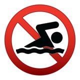 Segno proibito di nuoto Fotografie Stock Libere da Diritti