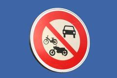 Segno proibito veicoli motorizzato Fotografia Stock Libera da Diritti