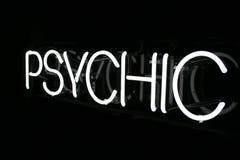 Segno psichico al neon bianco 2 Fotografia Stock Libera da Diritti