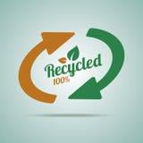 Segno riciclato per i prodotti biologici Fotografia Stock Libera da Diritti