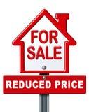 Segno riduttore di prezzi di vendita domestica Immagini Stock Libere da Diritti