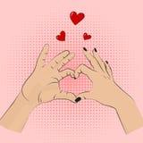 Segno romanzesco di gesto Vector le mani degli uomini delle donne di stile di Pop art che mostrano l'amore Nozze romantiche di sa illustrazione vettoriale