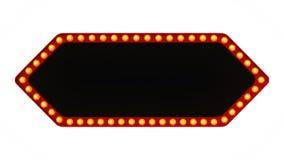 Segno rosso del bordo della luce della tenda foranea della freccia retro su fondo bianco rappresentazione 3d Fotografia Stock