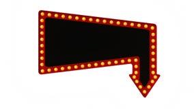 Segno rosso del bordo della luce della tenda foranea retro su fondo bianco rappresentazione 3d illustrazione di stock