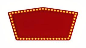 Segno rosso del bordo della luce della tenda foranea retro su fondo bianco rappresentazione 3d Fotografia Stock