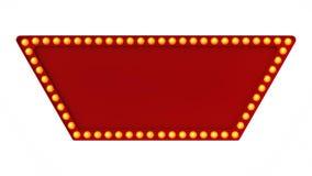 Segno rosso del bordo della luce della tenda foranea retro su fondo bianco rappresentazione 3d Immagini Stock
