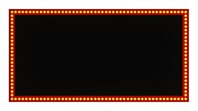 Segno rosso del bordo della luce della tenda foranea retro su fondo bianco rappresentazione 3d Immagine Stock Libera da Diritti