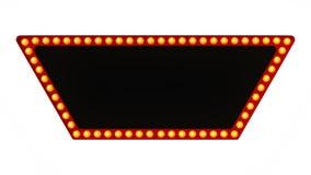 Segno rosso del bordo della luce della tenda foranea retro su fondo bianco rappresentazione 3d Fotografie Stock Libere da Diritti