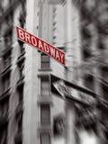 Segno rosso del broadway Immagine Stock