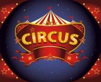 Segno rosso del circo di notte Immagine Stock Libera da Diritti