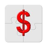 Segno rosso del dollaro sulla parte di puzzle di puzzle Fotografia Stock Libera da Diritti
