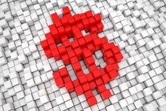 Segno rosso del pixel del cubo del blocchetto del dollaro rappresentazione 3d Fotografie Stock