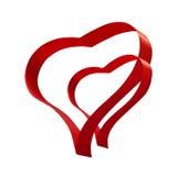 Segno rosso di amore dei biglietti di S. Valentino dei cuori del nastro due Immagine Stock Libera da Diritti