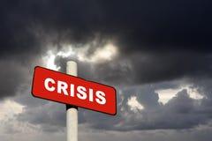 Segno rosso di crisi Immagine Stock