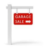 Segno rosso di vendita di garage Fotografie Stock