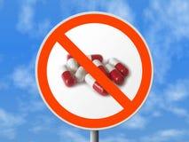 Segno rotondo nessun pillole fotografia stock
