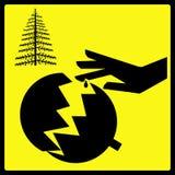 Segno rotto marcato dell'ornamento dell'albero di Natale Fotografie Stock